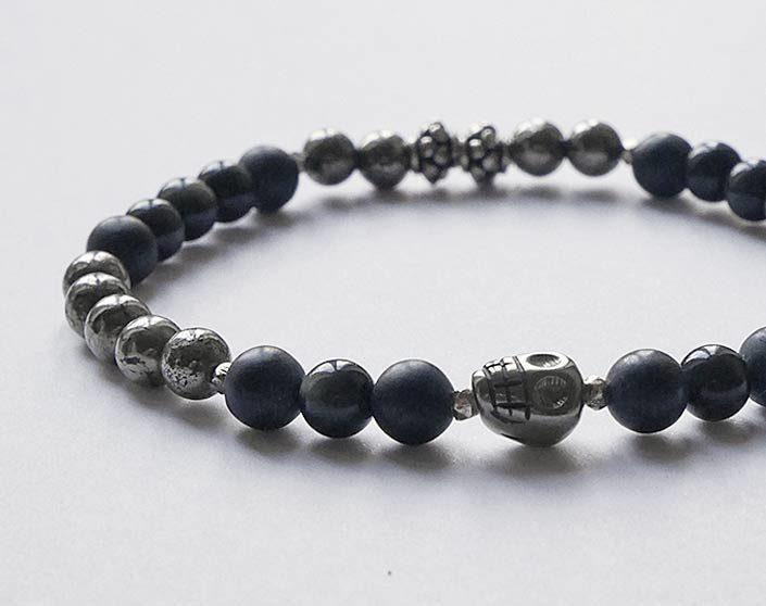 bracelet homme tête de mort pyrite