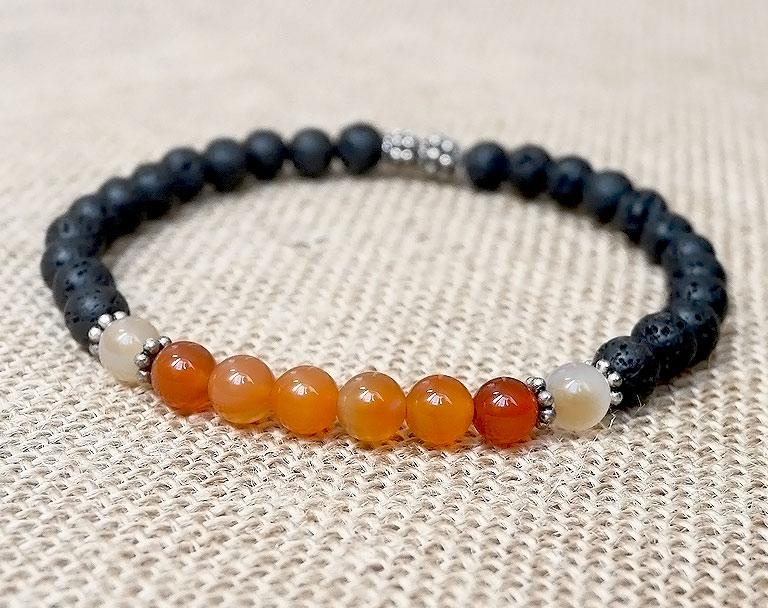 bracelet homme pierre de lave et cornaline