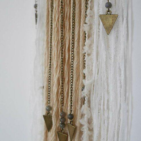 wall hanging avec tissus pour deco