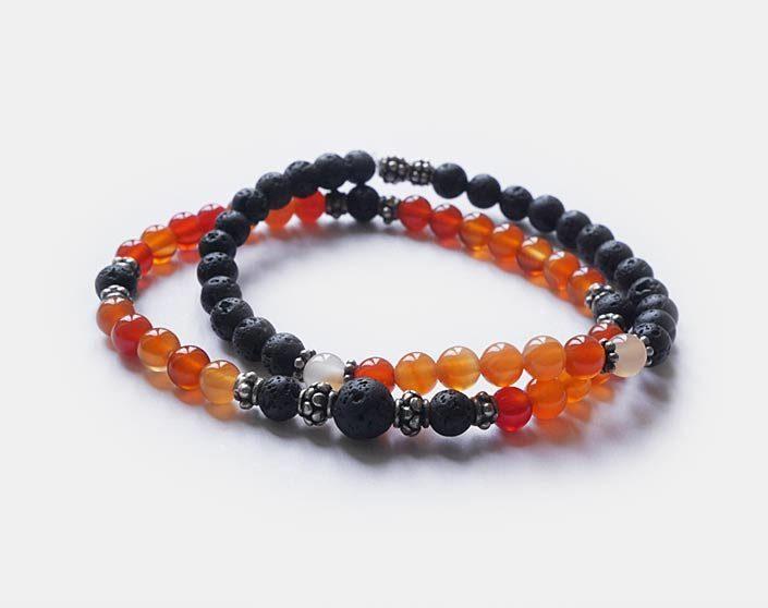 bracelets cornaline et pierre de lave